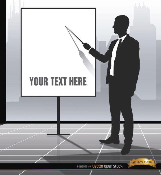 Executive pointing presentation screen - Free vector #164251