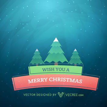 Flat Ribbon Banner beneath Xmas Trees - vector gratuit #164261