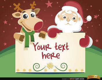 Santa reindeer Christmas card message - Free vector #164351