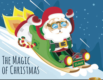 Santa rocket sleigh background - vector gratuit #164381