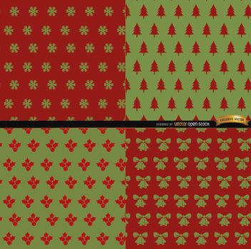 4 Red green Christmas patterns - vector gratuit #164461