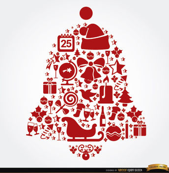 Bell shaped Christmas elements - vector gratuit #164471