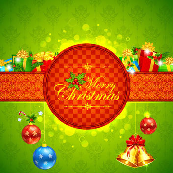Floristic Xmas Card with Gift Pack & Badge - vector gratuit #164501