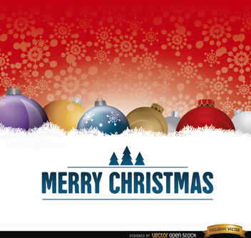 Christmas balls on snow card - Free vector #164511