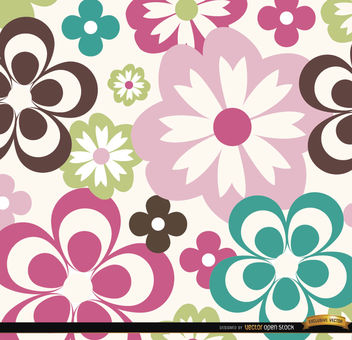 Big and small abstract flowers background - vector gratuit #164541