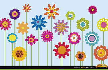 Different flowers stems background - vector #164551 gratis