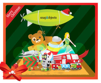 Funky Style Xmas Toys on Stripy Background - vector gratuit #164591