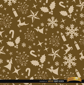 Christmas golden ornaments pattern - Free vector #164661