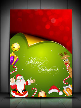 Curly Christmas Card with Santa Claws & Ornaments - vector gratuit #164691