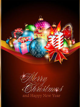 Stylish Christmas Greeting Card Template - Kostenloses vector #164701