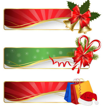 Waves & Sunbeams 3 Christmas Banners - vector gratuit #164711