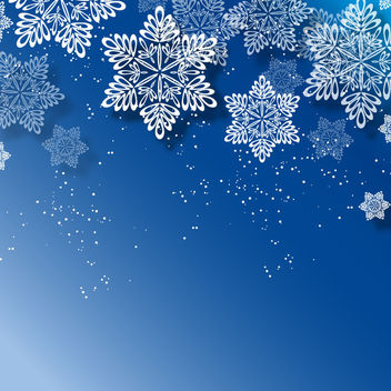 Blue Christmas Background with White Snowflakes - Free vector #164821