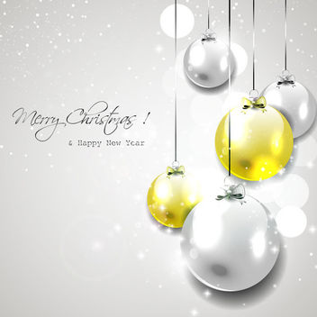 Christmas Glossy Balls Hanging on Grey Background - Free vector #164841
