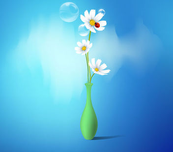Flower Vase with White Daisies - Free vector #164871