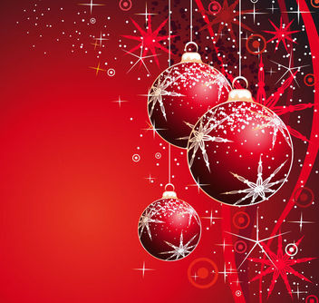 Christmas Balls & Snowflakes Sparkling Background - Free vector #164881