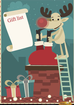 Santa Reindeer chimney gift list - vector gratuit #164931