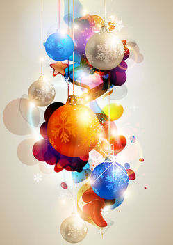 Glowing Colorful Christmas Ball Background - vector gratuit #164941