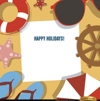 Holidays background beach objects - vector gratuit #165021
