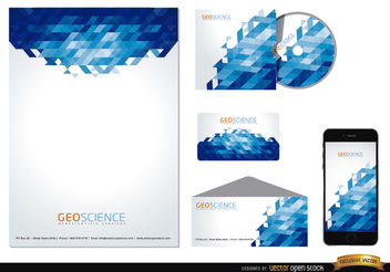Stationery blue abstract design - Free vector #165071
