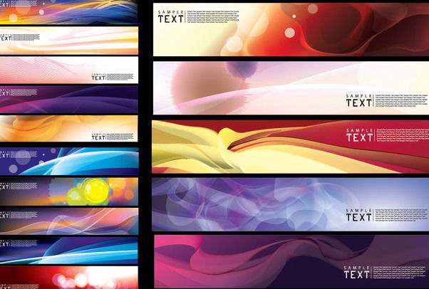 Abstract Creative Wide Banner Background Pack - vector gratuit #165111