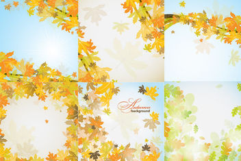 Fallen Autumn Leaves Frame & Background Pack - vector #165141 gratis