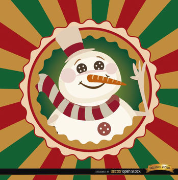 Christmas snowman round label background - vector #165181 gratis
