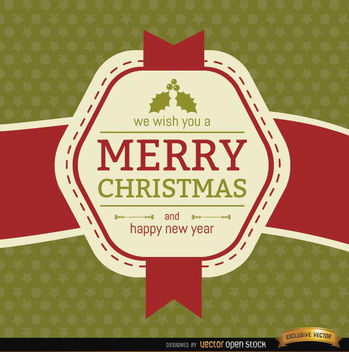 Christmas ribbon label wishes - Free vector #165191