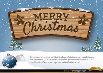 Merry Christmas wooden sign winter background - vector gratuit #165261