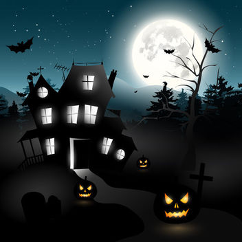 Halloween Hunted House & Trees with Graveyard - vector gratuit #165341