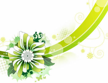Abstract Green Flower & Curves Background - vector gratuit #165401