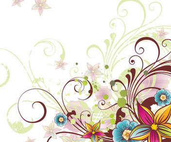 Abstract Colorful Decorative Floral Swirls Corner - Free vector #165431