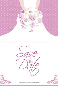 Marriage invitation dress flowers - vector gratuit #165481