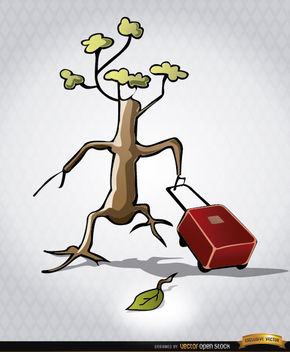 Endangered tree leaving briefcase - Free vector #165501