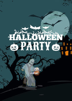 Halloween Poster with Ghost on Dead Tree - Free vector #165531