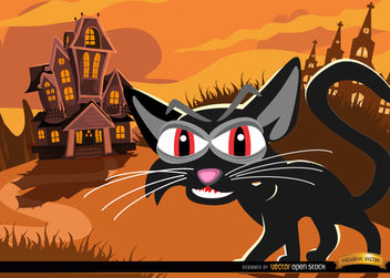 Black cat and haunted mansion background - vector gratuit #165541