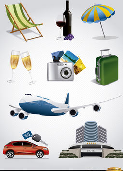 9 Vacation tourism elements set - vector #165561 gratis