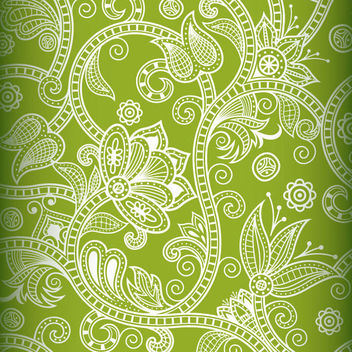 Seamless White Floral Decoration on Green - Free vector #165571