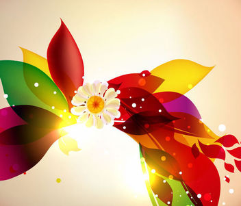 Colorful Floral Graphic with Full Blossom Flower - Free vector #165591