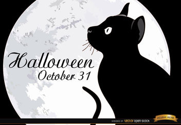 Halloween full moon cat poster - vector gratuit #165651