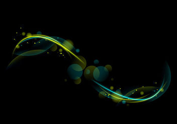 Creative Green Curves & Bokeh Circles on Black - Free vector #165671