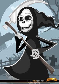 Cartoon grim reaper graveyard - Free vector #165721