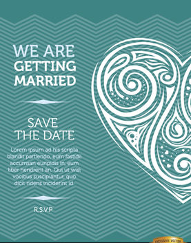 Artistic heart marriage invitation card - vector gratuit #165791