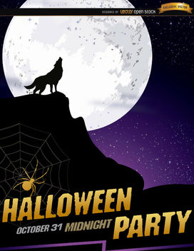 Wolf howl full moon Halloween poster - бесплатный vector #165801