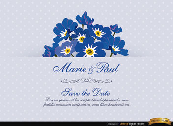 Myosotis Flower Wedding Invitation Card - Free vector #165821
