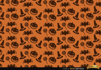 Halloween texture hat candy bats and creepy pumpkin background - Free vector #165881