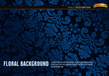 Blue and Black floral ornament background - vector gratuit #165891