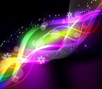 Rainbow Neon Glow Waves & Lines Background - vector gratuit #166031