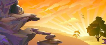 Sunset Sky Landscape with Piles of Stones - бесплатный vector #166121