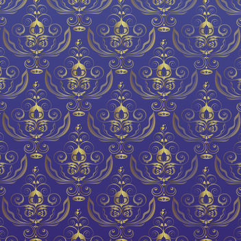 Seamless Royal Golden Pattern over Blue Background - vector gratuit #166131