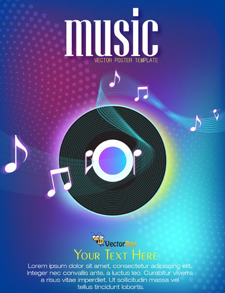 Colorful Musical Poster with Vinyl Record - бесплатный vector #166251